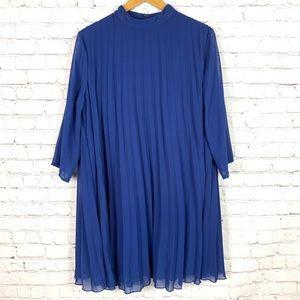 ASOS Royal Blue Pleated High neck shift dress 12